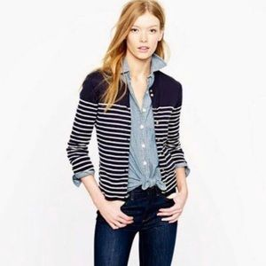JCrew Jackie Cardigan Striped Navy White
